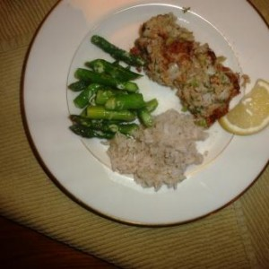 Salmon Loaf with asparagus and rice