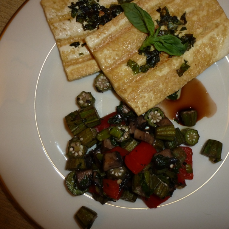 Basil Grilled Tofu with okra, red peppers and mushrooms