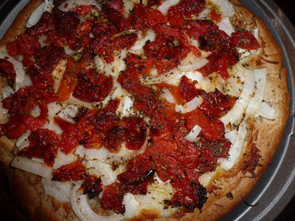 Sweet Onion Pizza with roasted peppers and sun-dried tomatoes