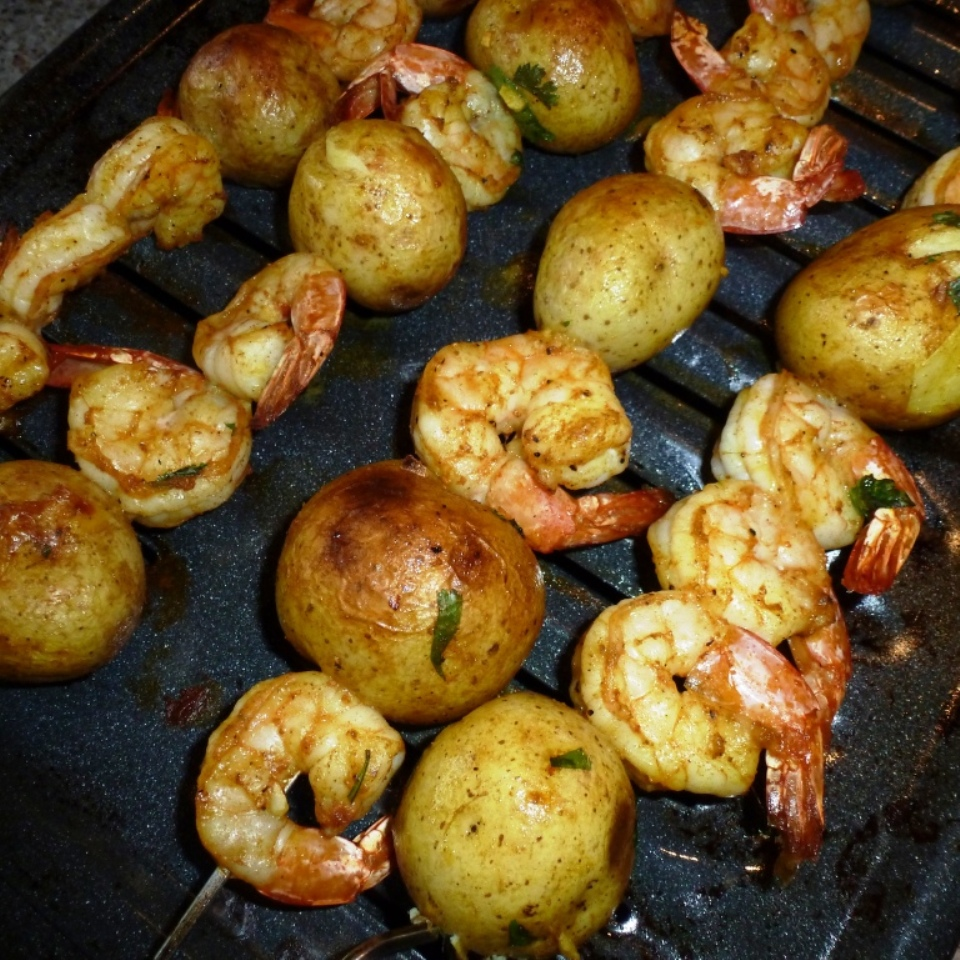 Curried Shrimp and Potato Kebabs