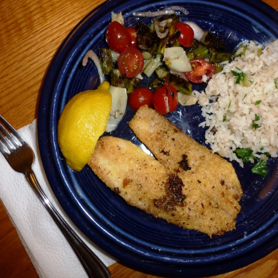 Tilapia with Asparagus and Artichoke Salad and Rice Pilaf
