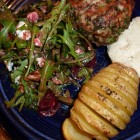 Turkey Burgers, Beet & Goat Cheese Salad, Sliced Potato