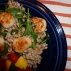 Seared Scallops with Lemony Farro and Arugula