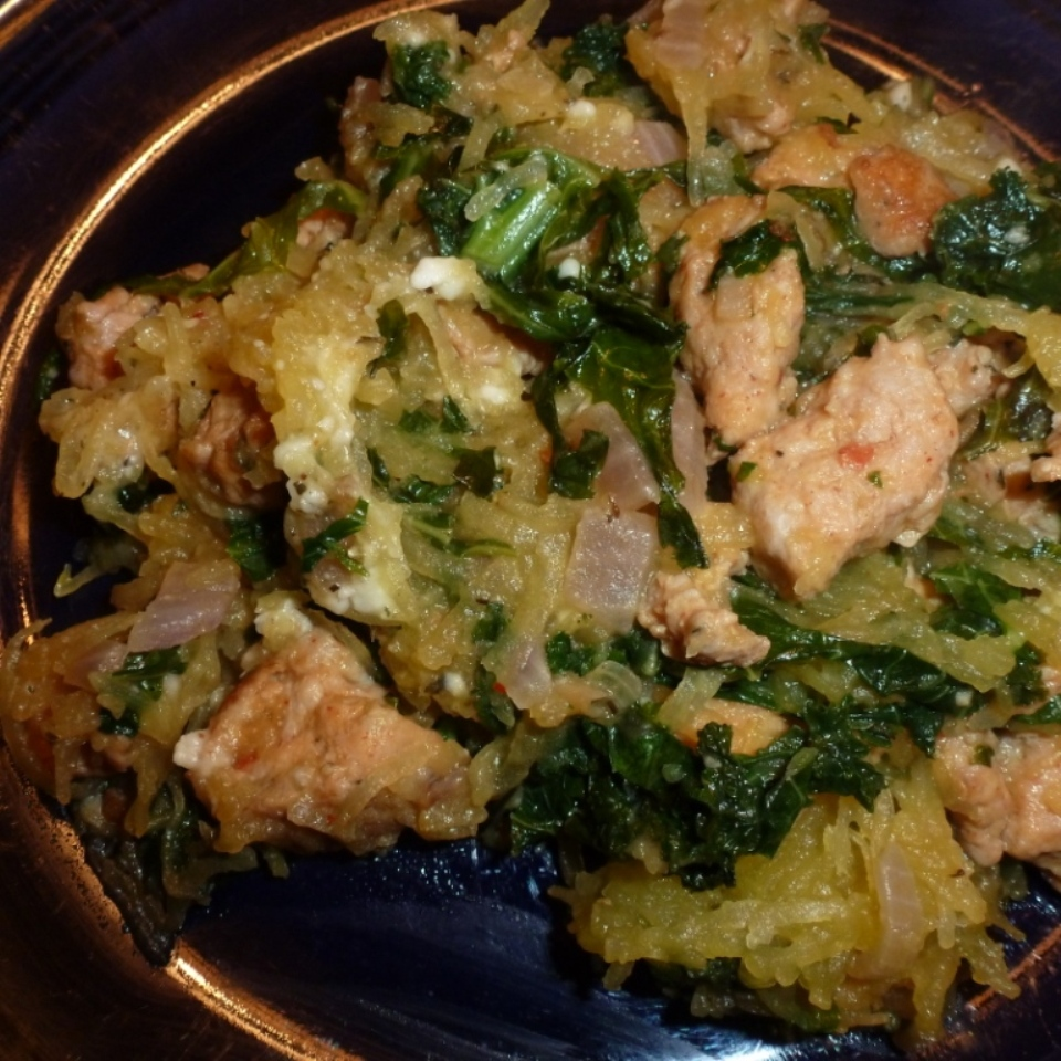 Roasted Spaghetti Squash with Sausage and Kale
