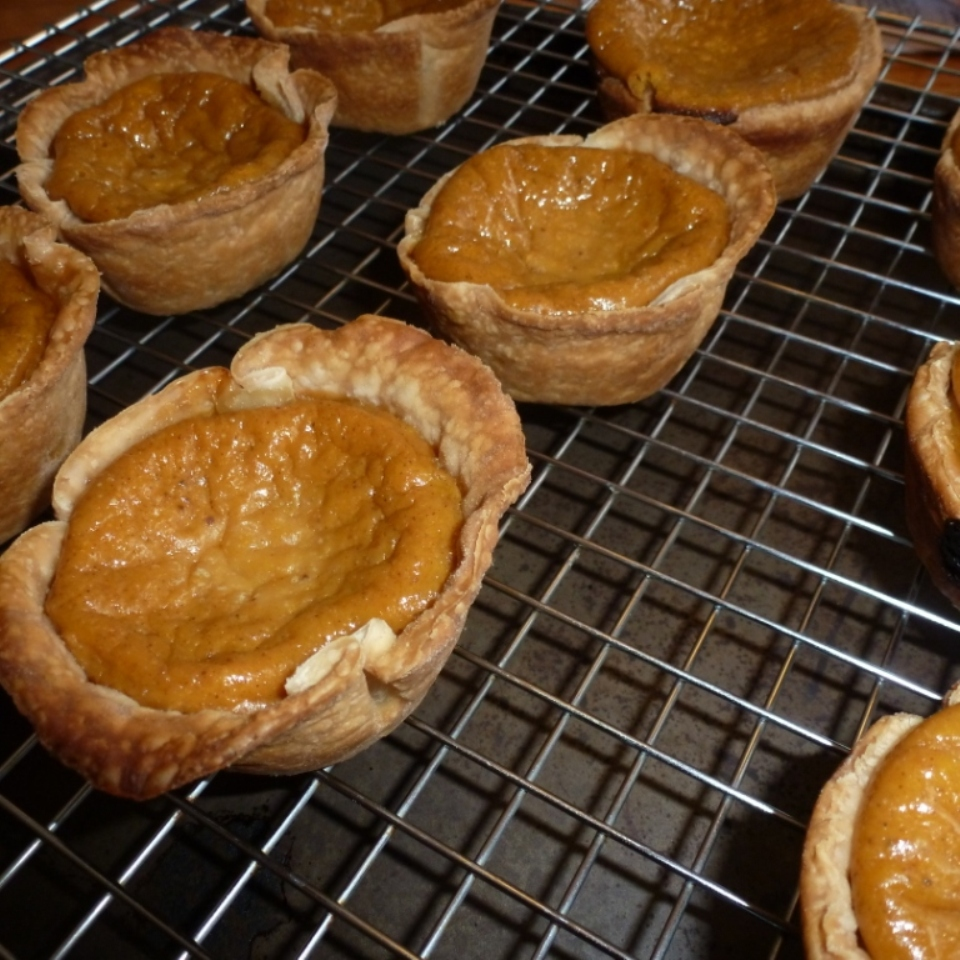 Making bite-sized pumpkin pies