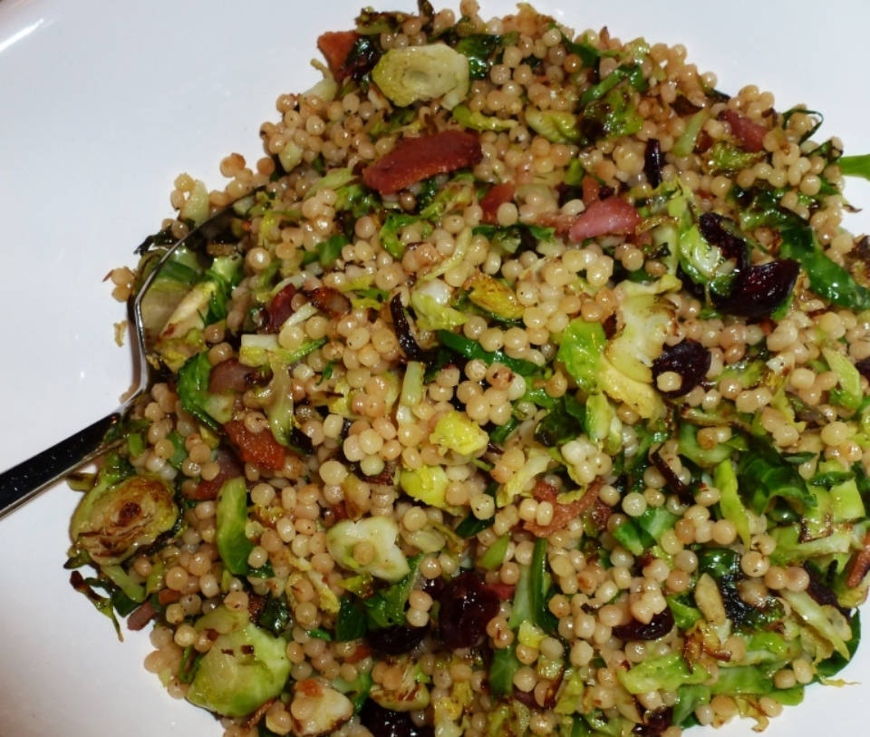 Brussels Sprouts with Bacon, Dried Cherries and Israeli Couscous